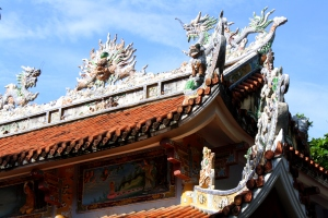 The rooftop architecture is heavily influenced with China's culture